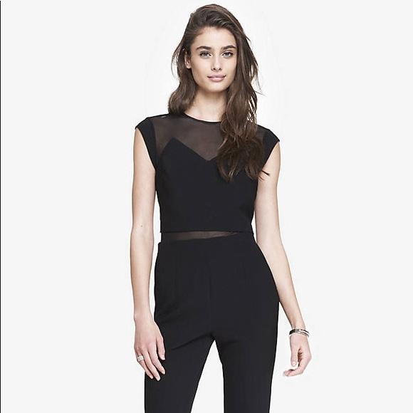 fdf4d015b02 Express Women s Black Layered Mesh Top Jumpsuit